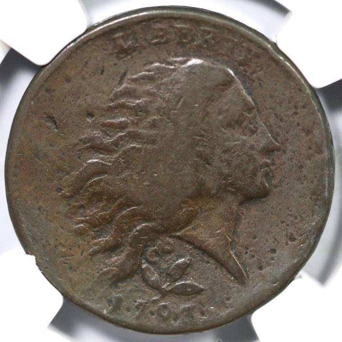 1793 S-6 R-3 NGC VG Details Vine&Bars Edge Wreath Large Cent Coin 1c