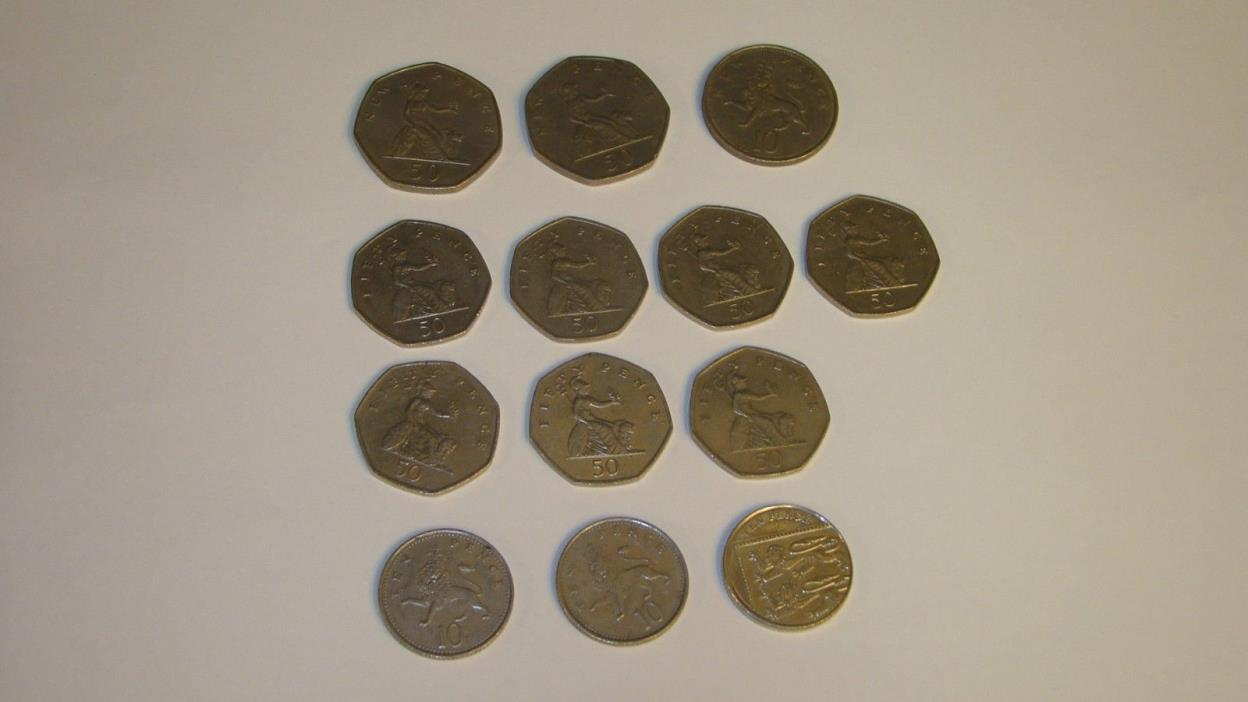 FIFTY PENCE LOT COIN ( 13 COINS ) Nice Mixture Of Years