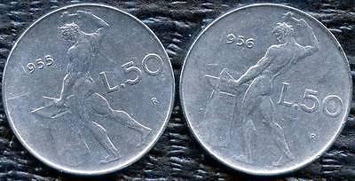1955 & 1956 Italy 50 Lira Coins