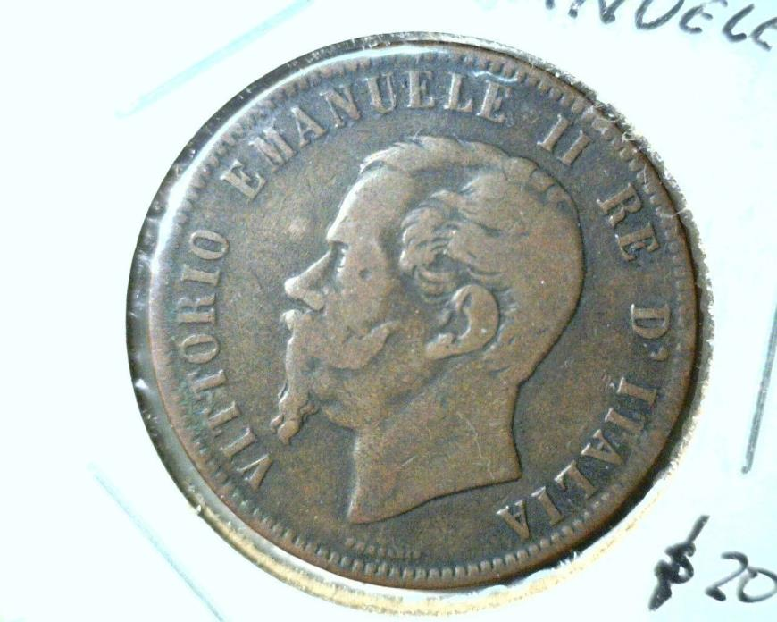 1863 Italy 10 Centesimi Coin KM#11.2  Very Fine