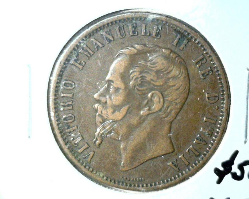 1866 M Italy 10 Centesimi Coin KM#11.5 Extremely Fine