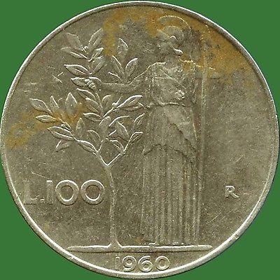 1960 Italy 100 Lira Coin