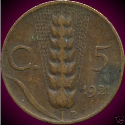 Italy 1921,1927 & 1930 5 Centesimi Coins