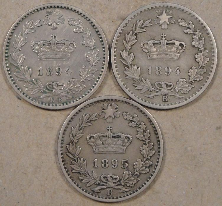 Italy 20 C. 1894-KB(lt Cleaned),1894-R,+ 1895-R Mid-Better Grade Coins