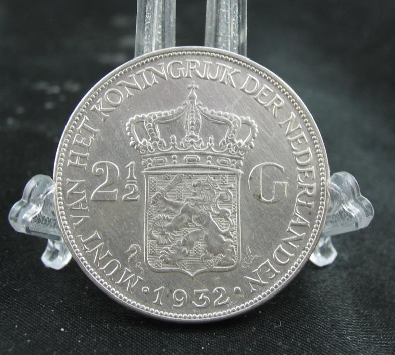1932  Netherlands 2 1/2 Gulden Silver Coin  -  25 Grams .720 Silver