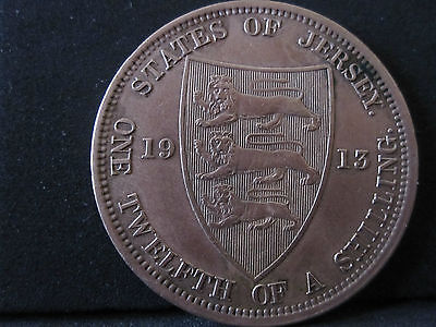 1913 Jersey 1/12 Shilling Bronze Coin---Very Nice