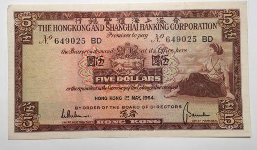 1964 Hong Kong 5 Dollars - HIGH GRADE/LOW RESERVE!