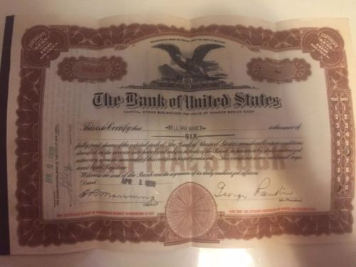 Bank of United States Stock Certificate