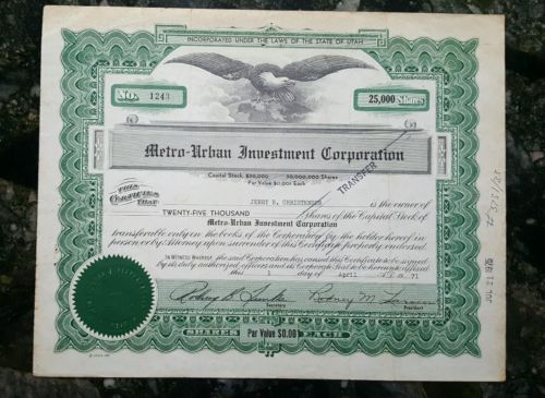 1971 Stock Metro-Urban Investment Corporation - 25000 Shares