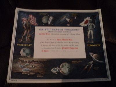 Vintage Space Minute Man US Savings Bond 1964-Peaceful Exploration of Space