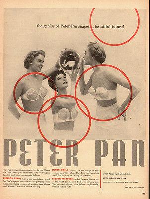 1958 vintage lingerie AD , PETER PAN strapless Bras 3 models brassieres  062714