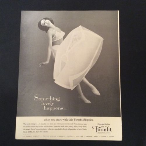 1963 FORMFIT PRINT AD - SKIPPIES GIRDLES - SOMETHING LOVELY HAPPENS