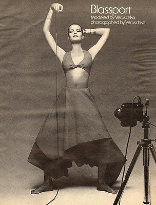 1970s vintage fashion AD, Blassport Modeled & Photographed by Veruschka 122713