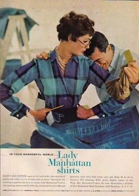 1958 Lady Manhattan Shirt women's 50's fashion photo ad MMXV