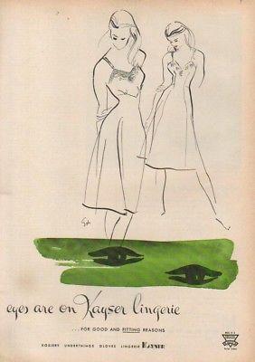 1946 Kayser Nightie Nightgown Lingerie fashion art ad