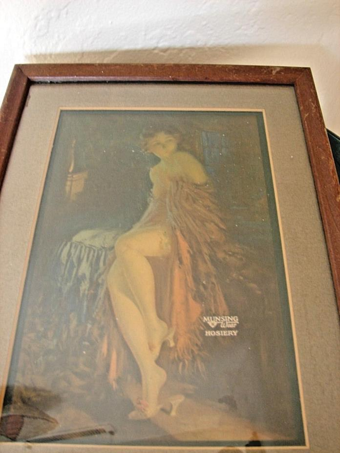 VINTAGE MUNSING WEAR HOSIERY ADVERTISING PRINT FRAMED