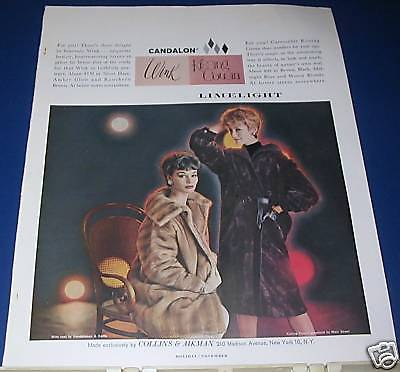 1959 Collins & Aikman Faux Fur Coat Ad Candalon