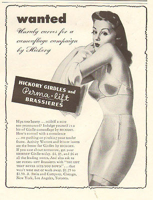 1942 Lingerie AD Hickory Girdles Perma-Lift Brassieres Pinup Art  022016