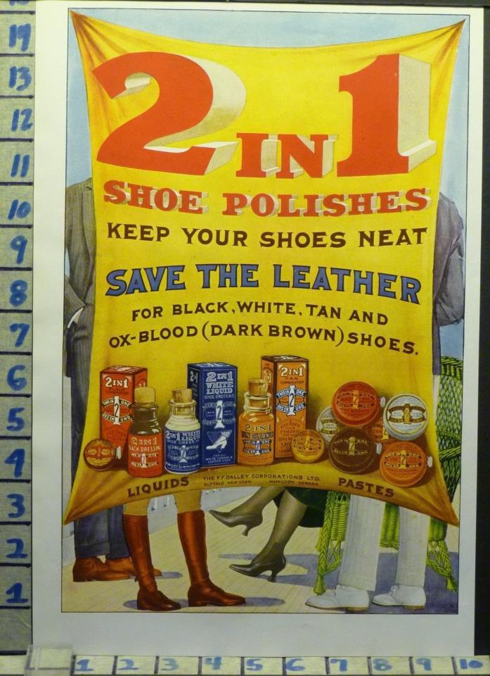 1919 2 IN 1 SHOE LEATHER POLISH SHINE BOOT FASHION BOX TIN BOTTLE   AI04