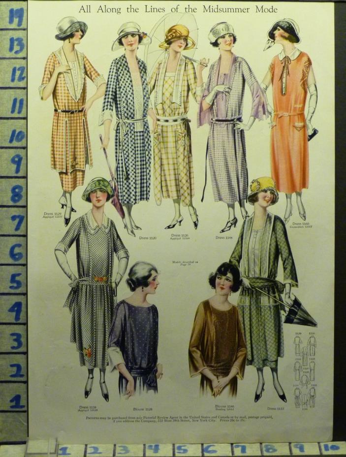1922 BLOUSE DRESS HAT PARASOL SKIRT FROCK FASHION DESIGNER  ADAI100