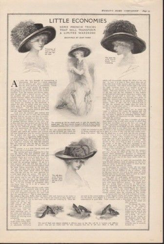 1910 FRENCH FASHION JEAN PARKE HAT SLIPPER CLOTHING   AD 7765