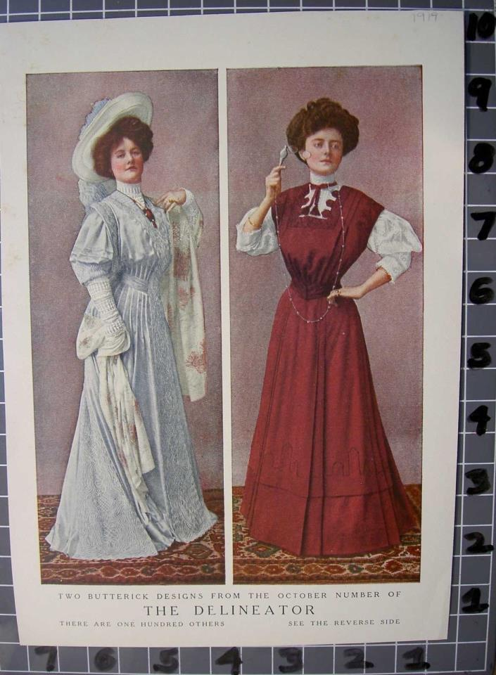 1919 BUTTERICK DESIGN FASHION CLOTHING DRESS EDWARDIAN WOMAN DRESS HAT FE084