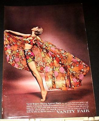 1969 VANITY FAIR cling Panty Girdle Bra TROPIC NIGHT lingerie print Ad