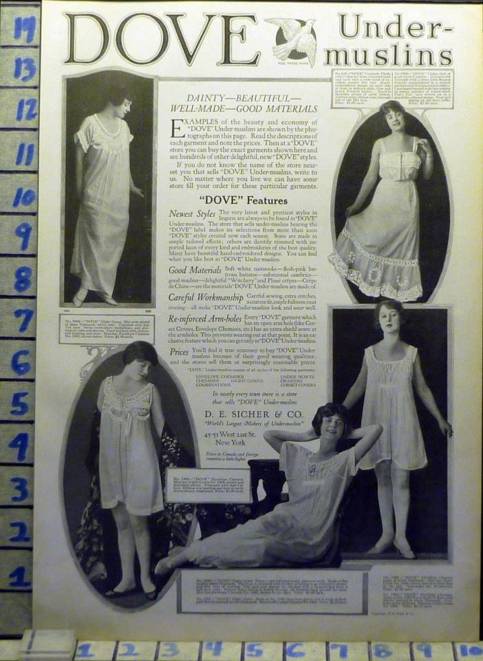 1918 UNDER-MUSLIN CHEMISE NIGHT GOWN FASHION DESIGNER   DC AW63