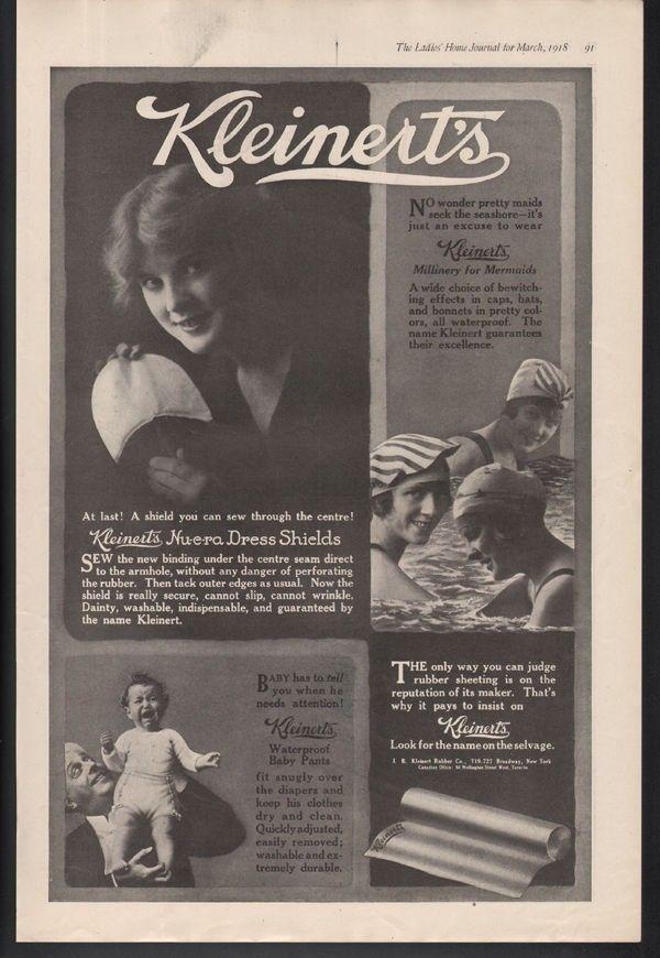 1918 KLEINERT SWIM HAT BABY DRESS SHIELD BEACH RUBBER BEAUTY FASHION AD 21345