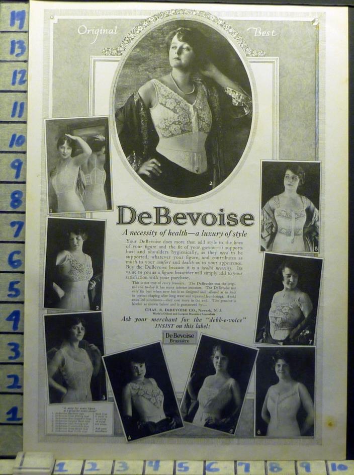 1918 DEBEVOISE BRASSIERE CORSET LUXURY FASHION DESIGNER   DC AW64