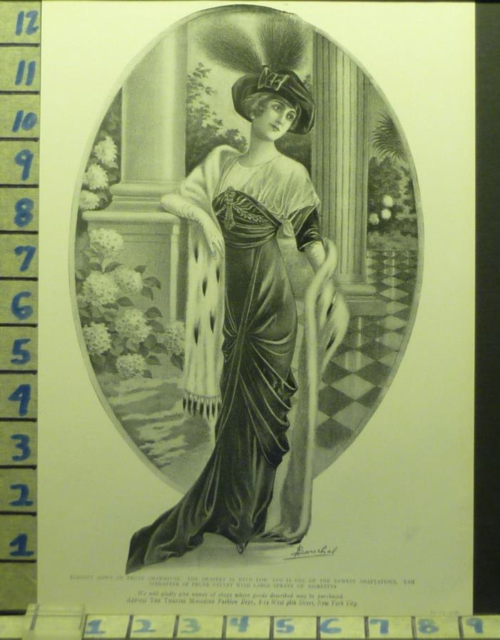 1918 CHARMEUSE SOUCHEL PY GOWN FUR FASHION DESIGNER      AD AU72
