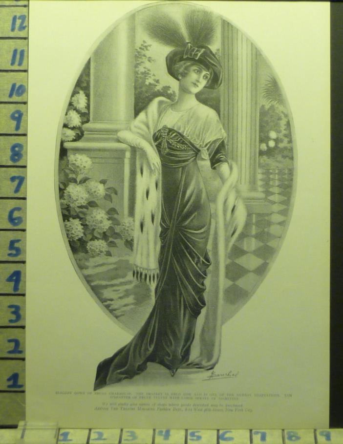1918 CHARMEUSE SOUCHEL PY GOWN FUR FASHION DESIGNER      AD AU93