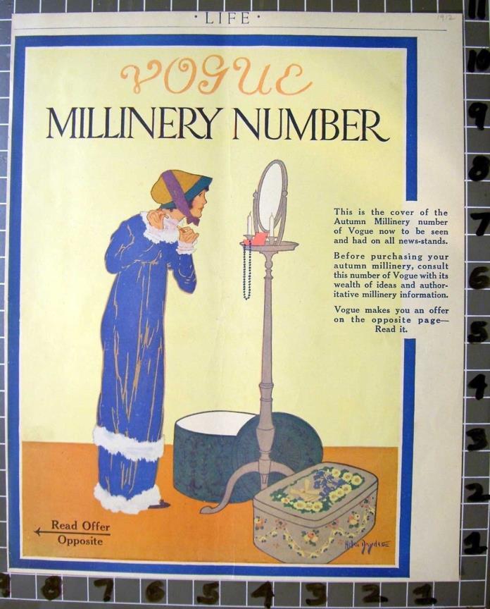 1912 VOGUE MILLINERY FASHION HAT BOX LUGGAGE CLOTHING DRESS FALL  FC032FC032