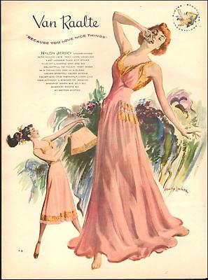 1940s vintage lingerie Ad Van Raalte Nylon Jersey Underthings, Lovely Art 100717