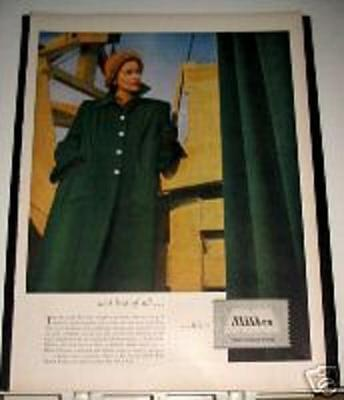 1947 Milliken Wool Fashion Ad new box-coat