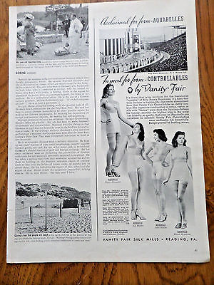 1939 Vanity Fair Bra Girdle Ad Billy Roses's Aquabelles New York World's Fair
