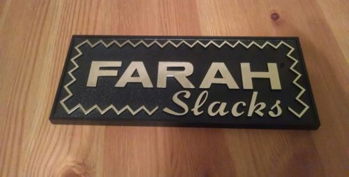Vtg Farah Slacks Black & Gold Point of Sale Advertising Sign KCS Industries 10x4