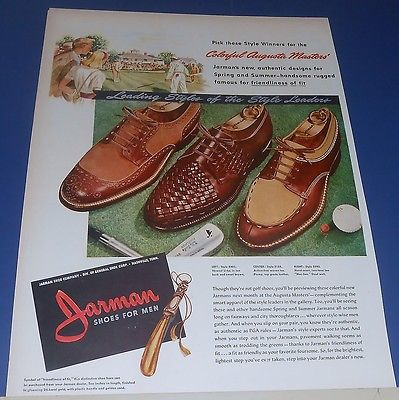 1947 Jarman Shoes for men Ad AUGUSTA MASTERS' Golf