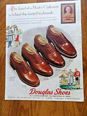 1947 Dougas Shoes Ad  The Hand of a Master Craftsman behind Trusted Trademark