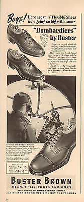 1944 WW2 era AD BUSTER BROWN 'Bombardier' shoes for boys , B-17 Fortress 051017