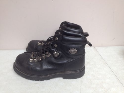 Harley Davidson Black Boots Size 8.5 STEEL TOE MOTORCYCLE RIDING Leather