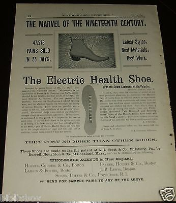 Original 1891 Full Page Illustrated Advertisement for The Electric Health Shoe