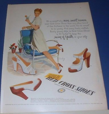 1947 RED CROSS SHOES Swing of Youth Ad ~ 3 styles