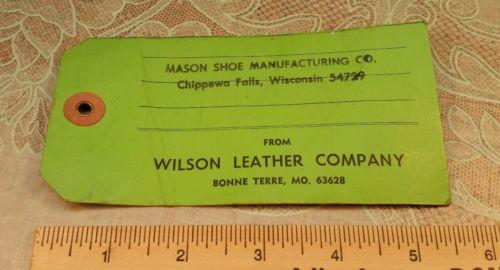 Advertising  Id Tag Wilson Leather Bonne Terre MO Mason Shoe Chippewa Falls WI