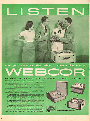 1957 vintage AD WEBCOR HI FI Tape Recorders 3 Models Shown Big Machines ! 031915