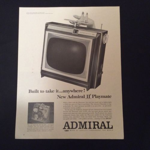 """1963 ADMIRAL PRINT AD - NEW ADMIRAL 11"""" PLAYMATE PORTABLE TELEVISION"""