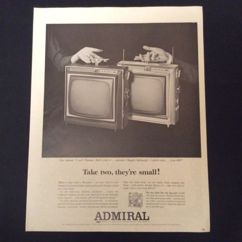 "1964 ADMIRAL PRINT AD - PORTABLE TELEVISIONS - THE 11"" PLAYMATE IN 5 COLORS"