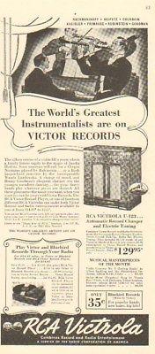 1939 RCA Victrola U-123 Radio/Phonograph-Victor Blubird Record Player 1930s Ad