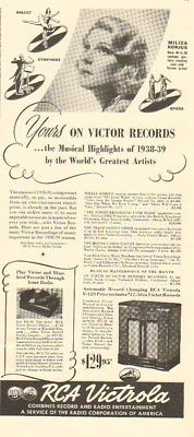 1939 Miliza Korjus Singer-RCA Victrola Record Player Bluebird 30s Phonograph Ad