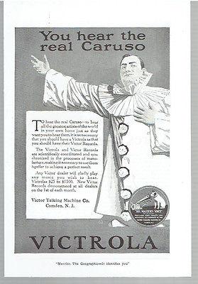Vintage, Original, 1920 - Victrola and Victor Records Ad - Music, Caruso